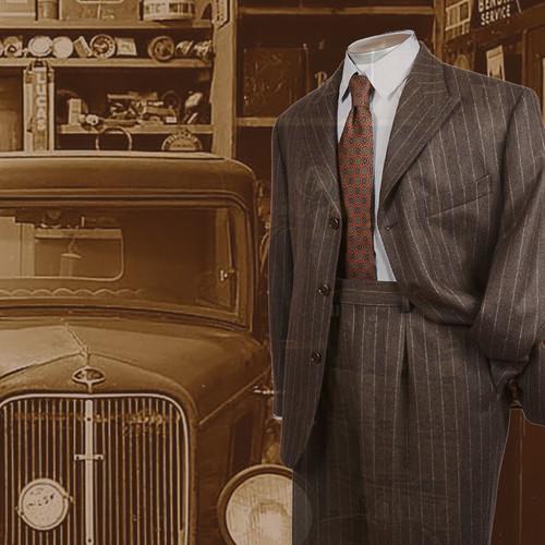 Vintage Style  Brown Chalk Stripe Flannel Suit 2