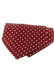 Polka Dot Silk Cravat -  Wine