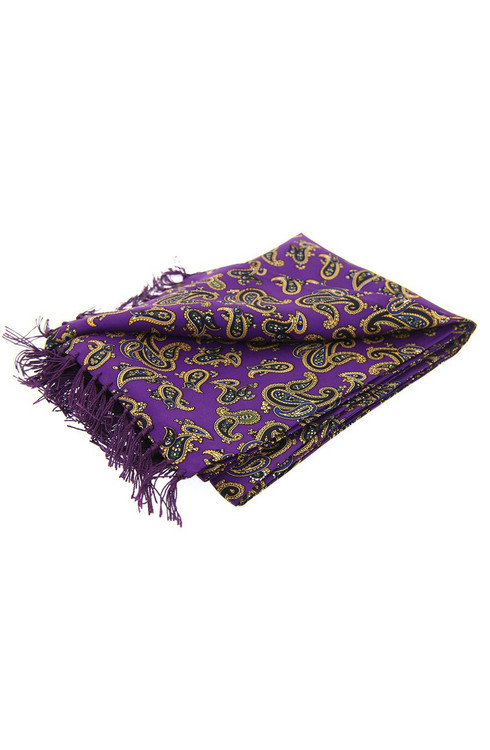 Morris Paisley Silk Scarf - Purple