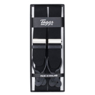 Taggs of Mayfair Luxury Braces with Leather Ends- Black
