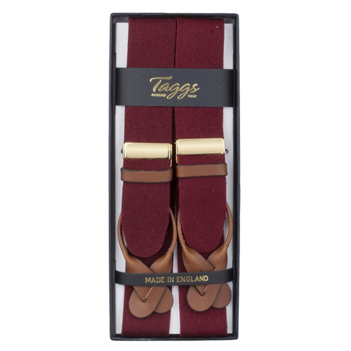 Taggs of Mayfair Luxury Braces with Leather Ends- Wine