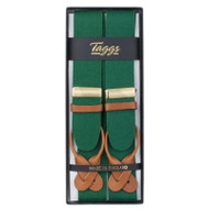 Taggs of Mayfair Luxury Braces with Leather Ends- Green