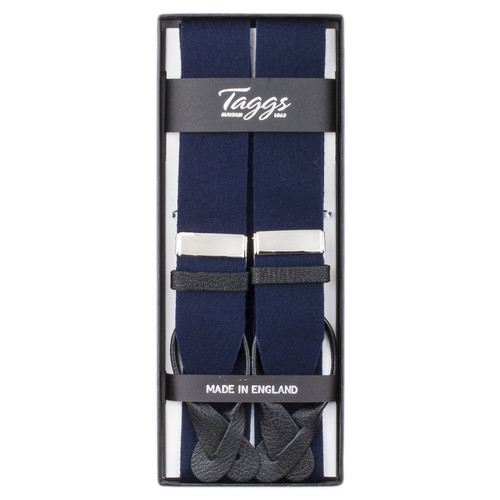 Taggs of Mayfair Luxury Braces with Leather Ends - Blue