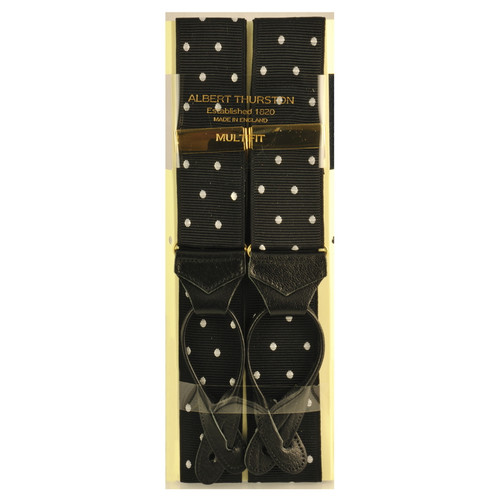 Albert Thurston Luxury Braces with Leather Ends - Black Polka Dot