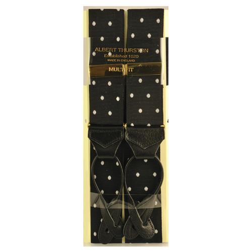 Albert Thurston Luxury Braces with Leather Ends - Black Polka Dot