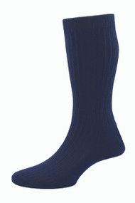 Pantherella Hemingway Escorial Wool Rib Socks - Navy