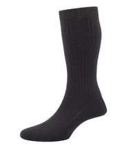 Pantherella Hemingway Escorial Wool Rib Socks - Dark Chocolate