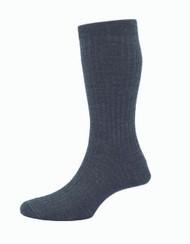 Pantherella Hemingway Escorial Wool Rib Socks - Grey