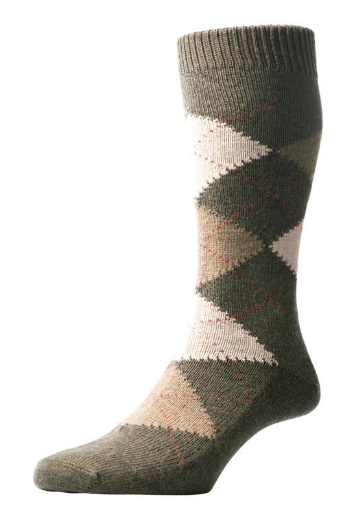 Pantherella Racton Argyle Merino Wool Socks - Olive