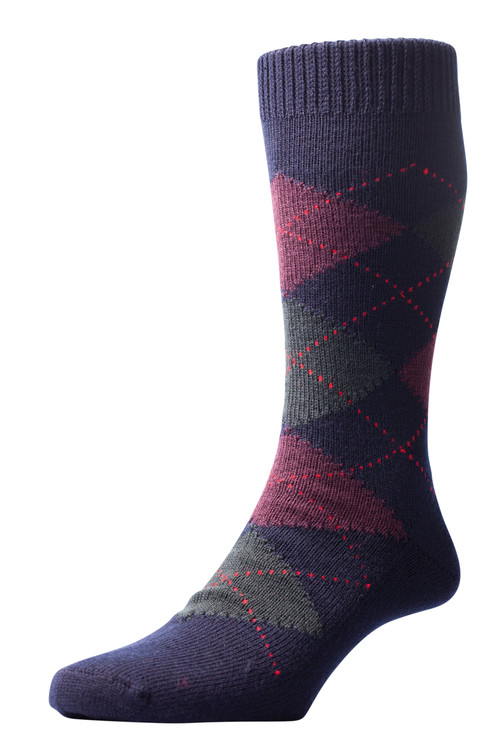 Pantherella Racton Argyle Merino Wool Socks - Navy