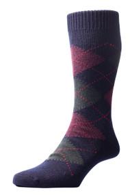 Pantherella Racton Argyle Merino Wool Socks - Navy