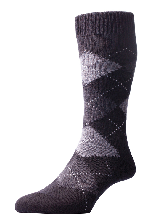 Pantherella Racton Argyle Merino Wool Socks - Black