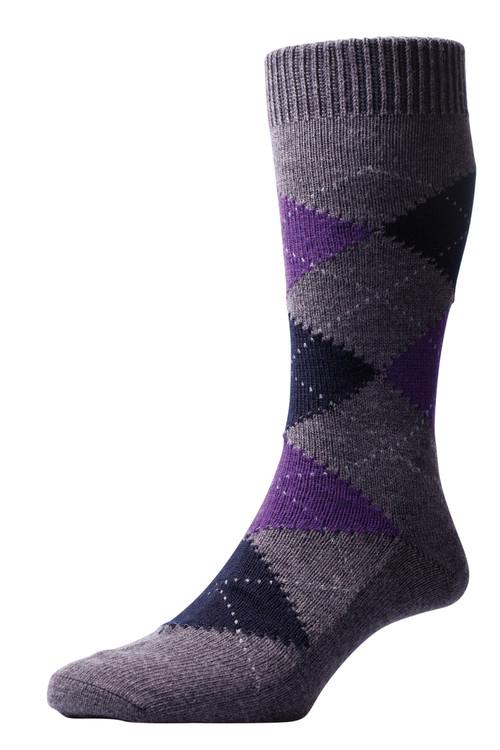 Pantherella Racton Argyle Merino Wool Socks - Grey/Purple