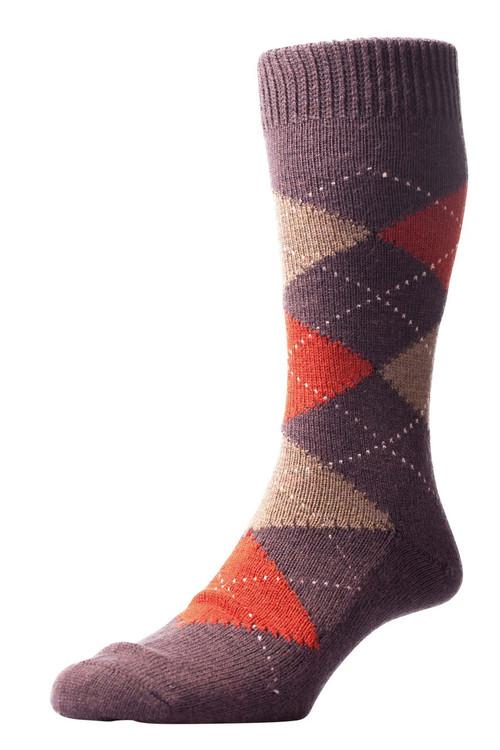 Pantherella Racton Argyle Merino Wool Socks - Brown/Red