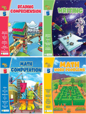 Smart Alec (5th Grade) 4 Pack Learning Series, Includes: Writing, Math Computation, Reading Comprehension, Math Word Problems