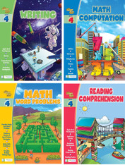 Smart Alec (4th Grade) 4 Pack Learning Series, Includes: Writing, Math Readiness, Reading Readiness, Math Word Problems