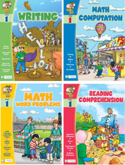 Smart Alec (1st Grade) 4 Pack Learning Series, Includes: Writing, Math Readiness, Reading Readiness, Math Word Problems
