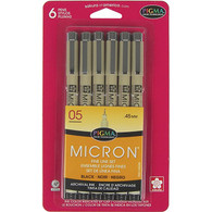 Sakura Pigma 50038 Micron Blister Card Ink Pen Set, Black, 05 6CT