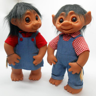 DAM Trolls Set of 2 Classic Boy and Girl Outfits, 16 inches