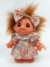 DAM Brown Hair Girl Troll in Flower Dress 7 inch