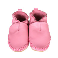 Robeez Premium Leather Classic Moccasin Shoes, Soft Soles, Pink (Infants/Toddlers)