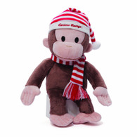 Curious George in Red/White Striped Hat and Scarf Plush, 14 inch (35.5 cm)