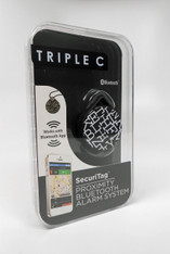 Triple C - Security Tag Proximity Bluetooth Alarm System for iPhone.  Pattern:  Crossword