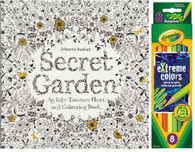 Secret Garden An Inky Treasure Hunt and Coloring Book & Crayola 8 eXtreme Colors