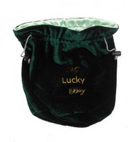 8 x 6 inch Velvet (outside)/ Grey Satin (inside) Multi-Purpose Carrying Bag wth Drawstrings.  Color:  Green + BONUS Dice Pack
