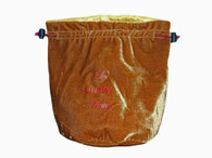8 x 6 inch Velvet (outside)/ Grey Satin (inside) Multi-Purpose Carrying Bag wth Drawstrings.  Color:  Gold/Yellow + BONUS Dice Pack