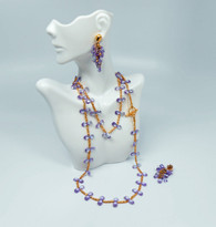 Light Amethyst Cubic Zirconia 22K Gold Plate Over Bronze 36 inch Necklace & Grape Style Drop Earrings