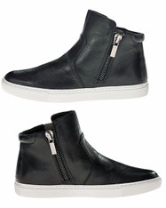 Kenneth Cole New York Women's Kiera Fashion LEATHER Sneaker, Color:  Black