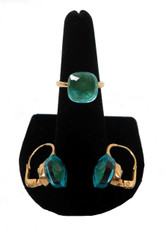 18KT Gold with Aqua Quartz Faceted Ring & Leverback Earrings. Made in Italy.