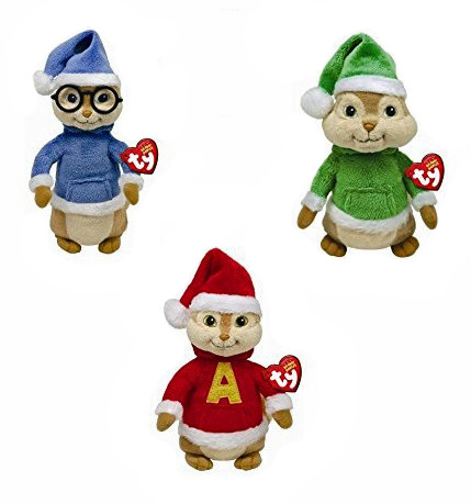 Alvin And The Chipmunks Christmas.Ty Alvin And Chipmunks Beanie Baby Christmas Edition Set Of 3 Alvin Theodore Simon