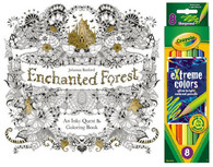 Enchanted Forest: An Inky Quest & Coloring Book & Crayola 8 eXtreme Colors