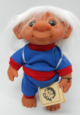 DAM Boy Jogger Troll with Backpack, White Hair, Blue and Red Outfit 8.5 inch (21.6 cm) Listing #2