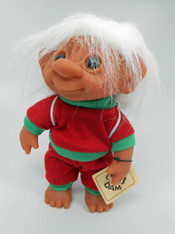 DAM Boy Jogger Troll with Backpack, White Hair, Red and Green Outfit 8.5 inch (21.6 cm) Listing #2