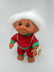 DAM Boy Jogger Troll with Backpack, White Hair, Red and Green Outfit 8.5 inch (21.6 cm) Listing #4