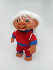 DAM Boy Jogger Troll with Backpack, White Hair, Red and Blue Outfit 8.5 inch (21.6 cm) Listing #5