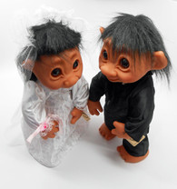 DAM Trolls Set of 2 Boy and Girl in Bride and Groom Outfits, 16 inches
