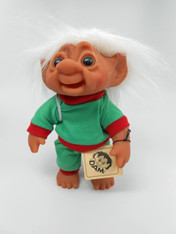 DAM Boy Jogger Troll with Backpack, White Hair, Green and Red Outfit 8.5 inch (21.6 cm) Listing #1