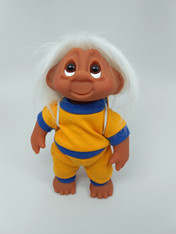DAM Boy Jogger Troll with Backpack, White Hair, Yellow and Blue Outfit 8.5 inch (21.6 cm) Listing #5