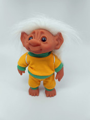 DAM Boy Jogger Troll with Backpack, White Hair, Yellow and Green Outfit 8.5 inch (21.6 cm) Listing #7