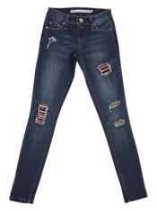 Tractr Big Girls' Rip and Repair Skinny Jeans, Color:  Indigo
