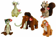 TY Beanie Babies Ice Age - Set of All 5: Scrat, Manny, Sid, Diego, Buck