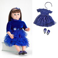 Ask Amy Doll, Dressed in a Sparkling Blue Holiday Dress - Brown Hair, 20 inch (50.8 cm)