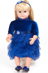 Ask Amy Doll, Dressed in a Blue Holiday Dress - Blonde Hair, 20 inch (50.8 cm)