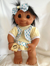 DAM Things Denmark LARGE Yellow Summer Dress Girl Troll, 16 inches