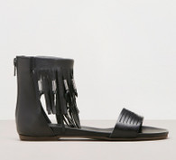 Ellie Fringe Sandal, Leather, Made in Italy, color: Black