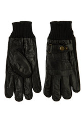 Men's Leather/Sweater Knit Cuff & Fingers, Buckle Strap Texting Finger Gloves